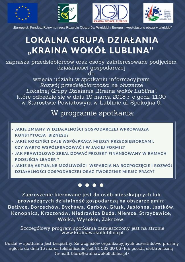 Spotkanie informacyjne dla przedsiębiorców organizowane przez LGD