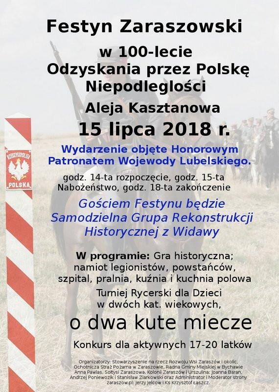 Festyn Zaraszowski z Turniejem Rycerskim w 100-lecie Odzyskania przez Polskę Niepodległości