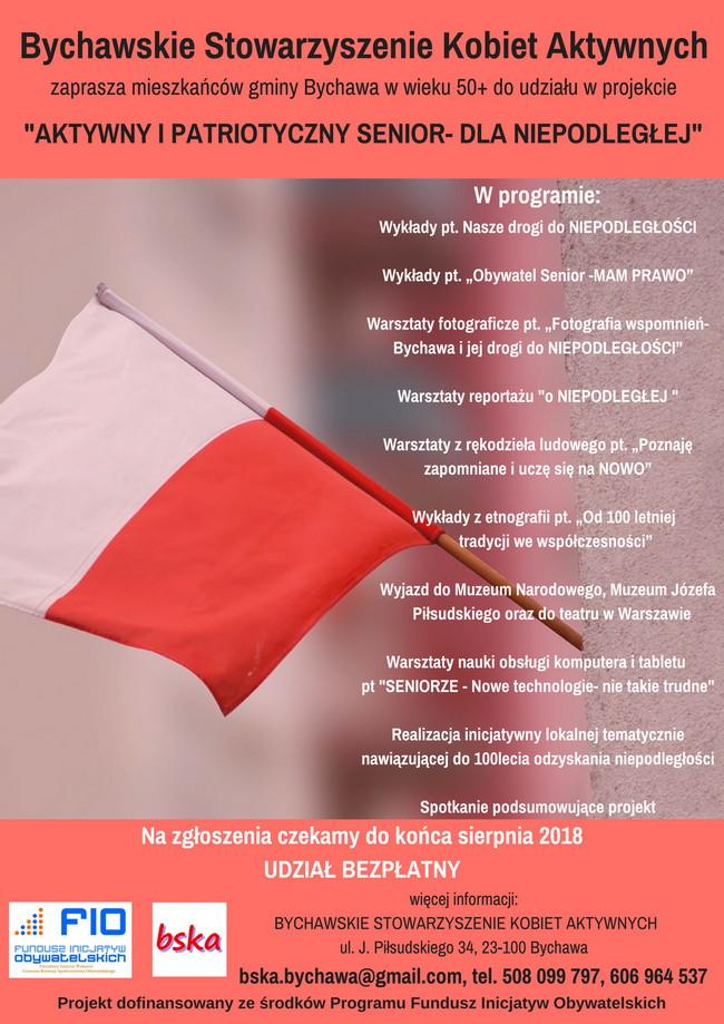 """Zaproszenie do udziału w projekcie """"AKTYWNY I PATRIOTYCZNY SENIOR – DLA NIEPODLEGŁEJ"""""""