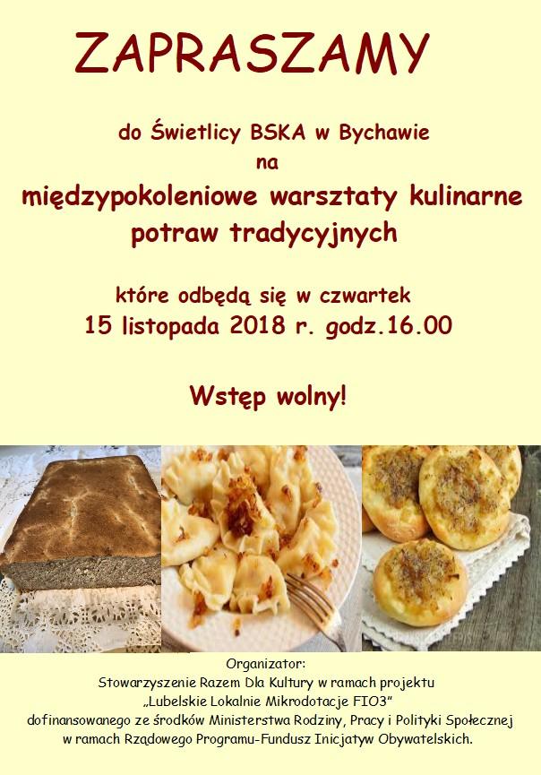 Zaproszenie na międzypokoleniowe warsztaty kulinarne potraw tradycyjnych w Bychawie