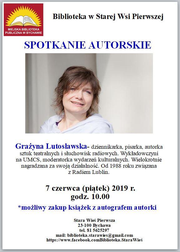 Zapraszamy na spotkanie autorskie z Grażyną Lutosławską