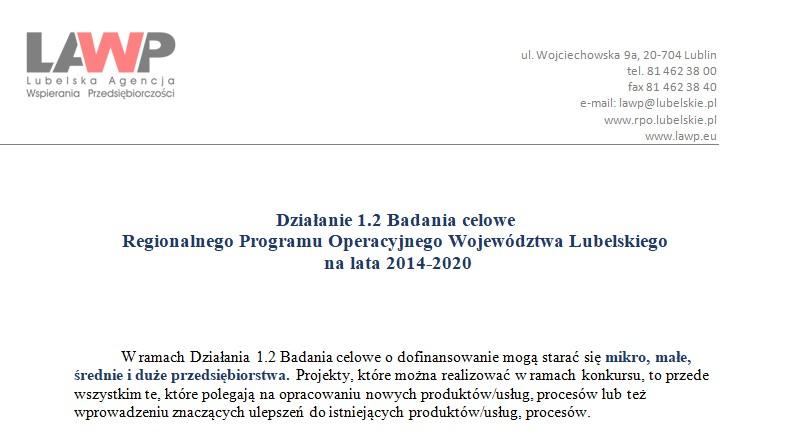 Działanie 1.2 Badania celowe Regionalnego Programu Operacyjnego Województwa Lubelskiego  na lata 2014-2020