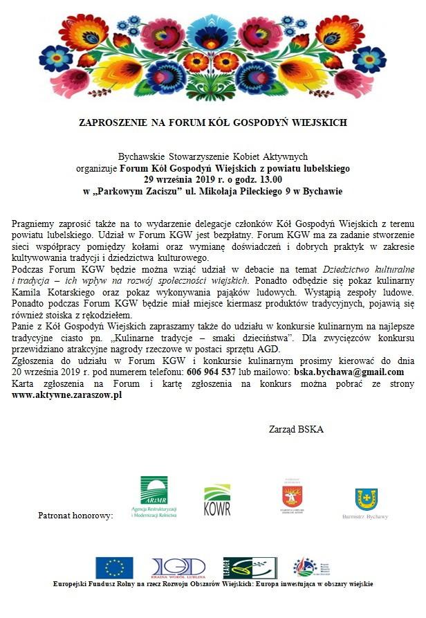 Forum Kół Gospodyń Wiejskich z powiatu lubelskiego – 29 września w Bychawie