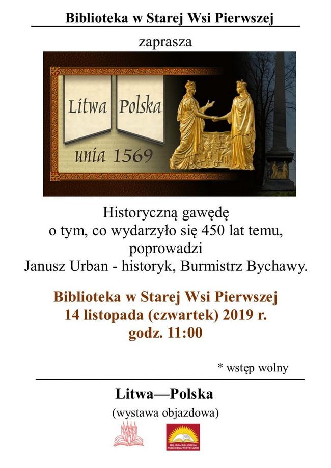 O unii polsko-litewskiej. Gawęda historyczna oraz wystawa w bibliotece w Starej Wsi Pierwszej. Zaproszenie.