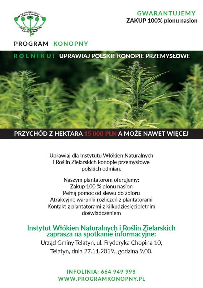 PROGRAM KONOPNY ROLNIKU! UPRAWIAJ POLSKIE KONOPIE PRZEMYSŁOWE – zaproszenie na spotkanie informacyjne