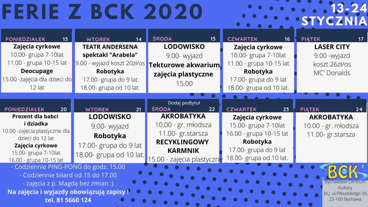 FERIE ZIMOWE 2020 W BYCHAWSKIM CENTRUM KULTURY