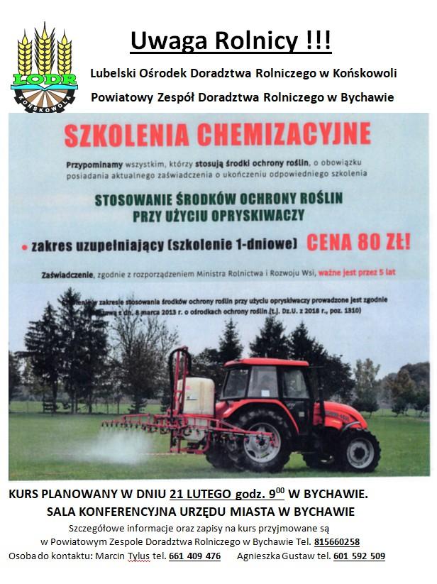 Kurs chemizacyjny uzupełniający dla rolników – zbieranie zgłoszeń