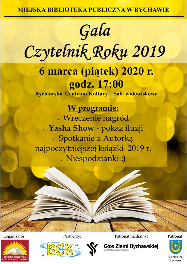 Gala Czytelnik Roku 2019 – 6 marca 2020 r. – Miejska Biblioteka Publiczna w Bychawie zaprasza