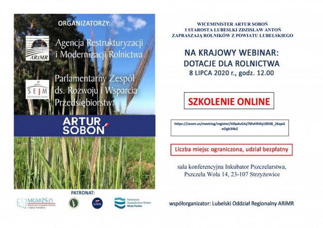 """Szkolenie """"DOTACJE DLA ROLNICTWA"""" on-line dla rolników 8 lipca o 12.00"""