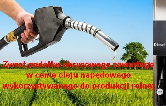 UWAGA ROLNICY – Nabór wniosków o zwrot podatku  akcyzowego od 3 sierpnia 2020 r. do 31 sierpnia 2020 r.