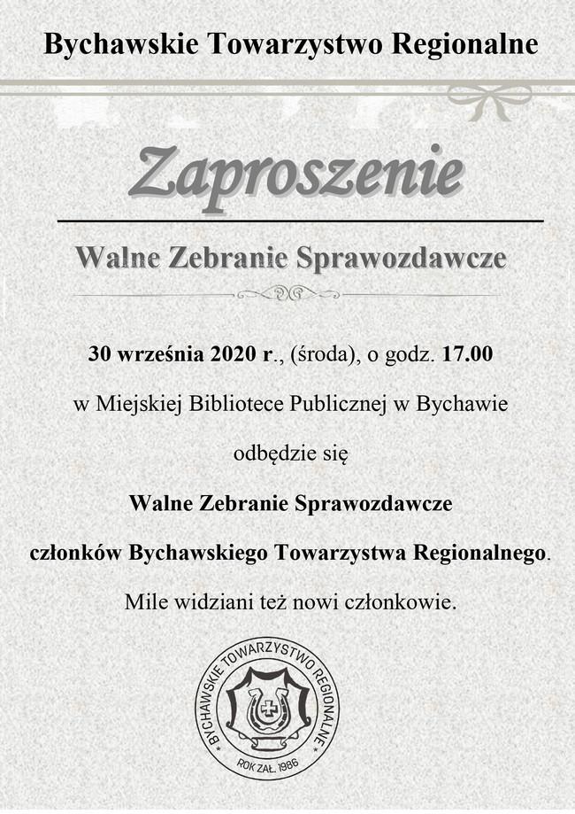 Walne zebranie sprawozdawcze BTR – 30 września – zaproszenie