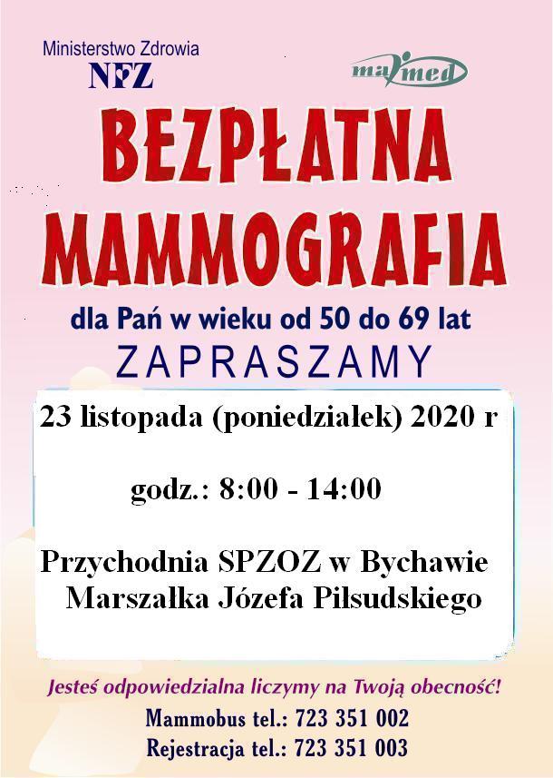 Mammografia – 23 listopada 2020 przy przychodni SPZOZ w Bychawie