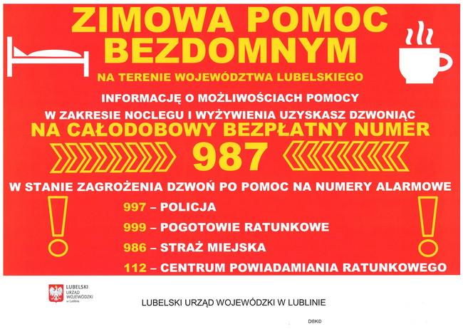 Plakat informacyjny na temat możliwości pomocy bezdomnym