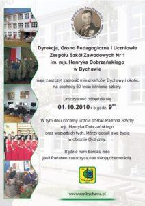 Zaproszenie na uroczystość 50 lecia Zespołu Szkół Zawodowych Nr 1 im. mjr. Henryka Dobrzańskiego w Bychawie
