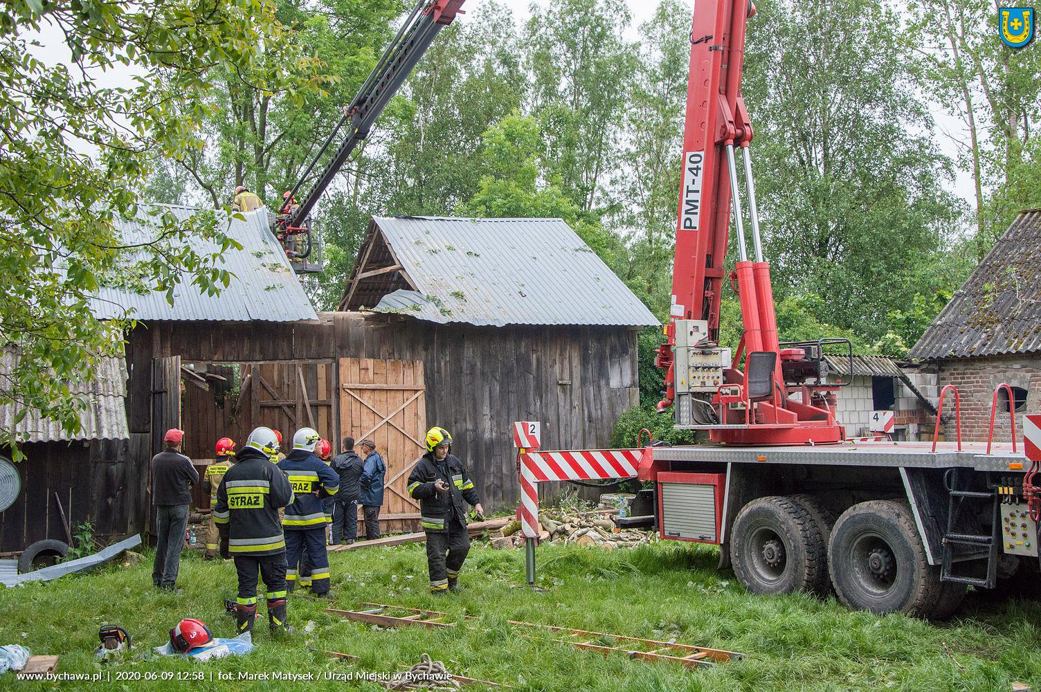 Gmina Bychawa liczy straty po poniedziałkowej burzy (8 czerwca 2020 r.)