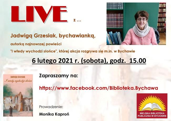 Zaproszenie na LIVE z Jadwigą Grzesiak – Miejska Biblioteka Publiczna w Bychawie