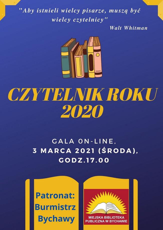 """Miejska Biblioteka Publiczna w Bychawie zaprasza na uroczystość wręczenia nagród w konkursie """"Czytelnik Roku 2020"""""""