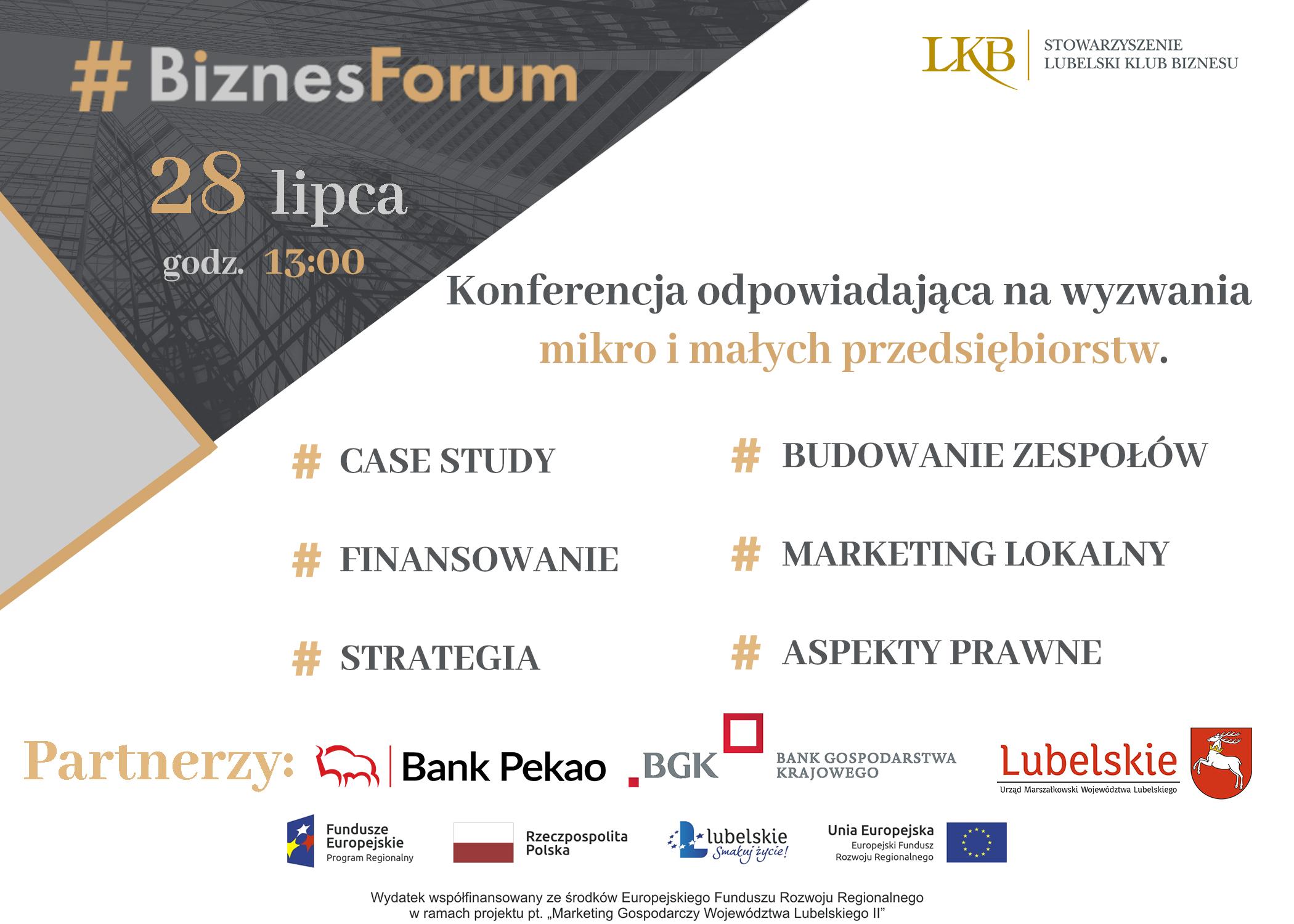 Zaproszenie na #Biznes Forum <br> 28 lipca 2021 r. godz. 13:00