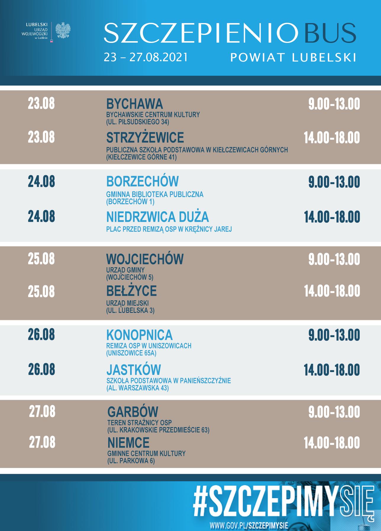 Harmonogram trasy szczepieniobusa w powiecie lubelskim w dniach 23-29.08.2021r.