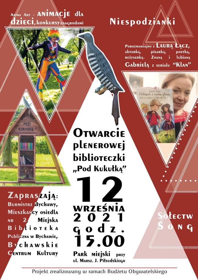 """Otwarcie plenerowej biblioteczki """"Pod Kukułką"""" 12 września 2021 – zaproszenie"""