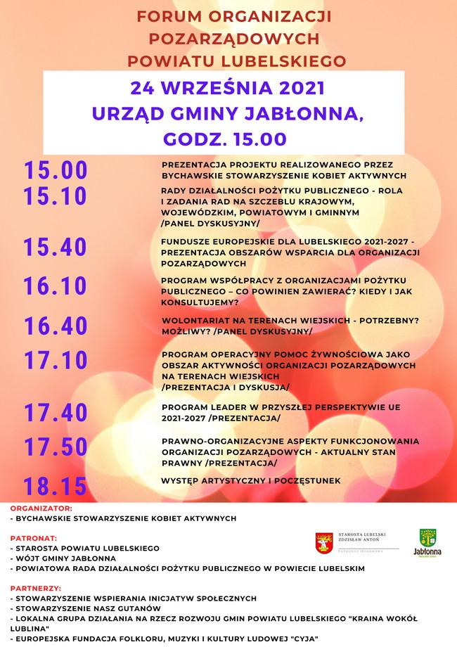 Forum Organizacji Pozarządowych Powiatu Lubelskiego 24 września 2021 r. – zaproszenie
