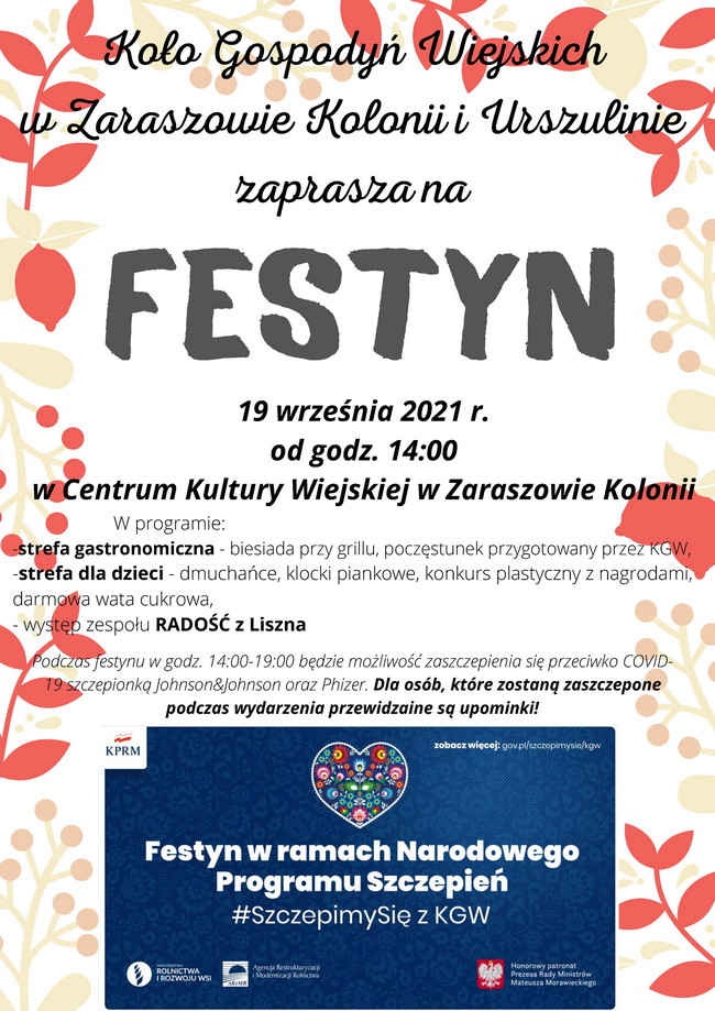 Koło Gospodyń Wiejskich w Zaraszowie-Kolonii i Urszulinie zaprasza na FESTYN 19 września 2021
