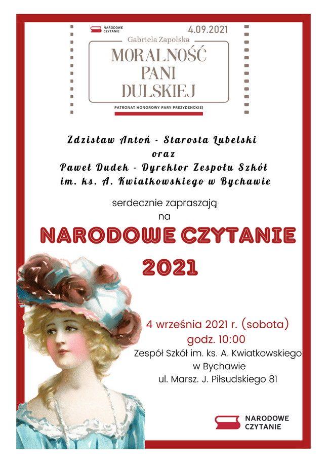 Narodowe Czytanie w Bychawie – 4 września 2021 r. przy zespole Szkół im. ks. A. Kwiatkowskiego w Bychawie