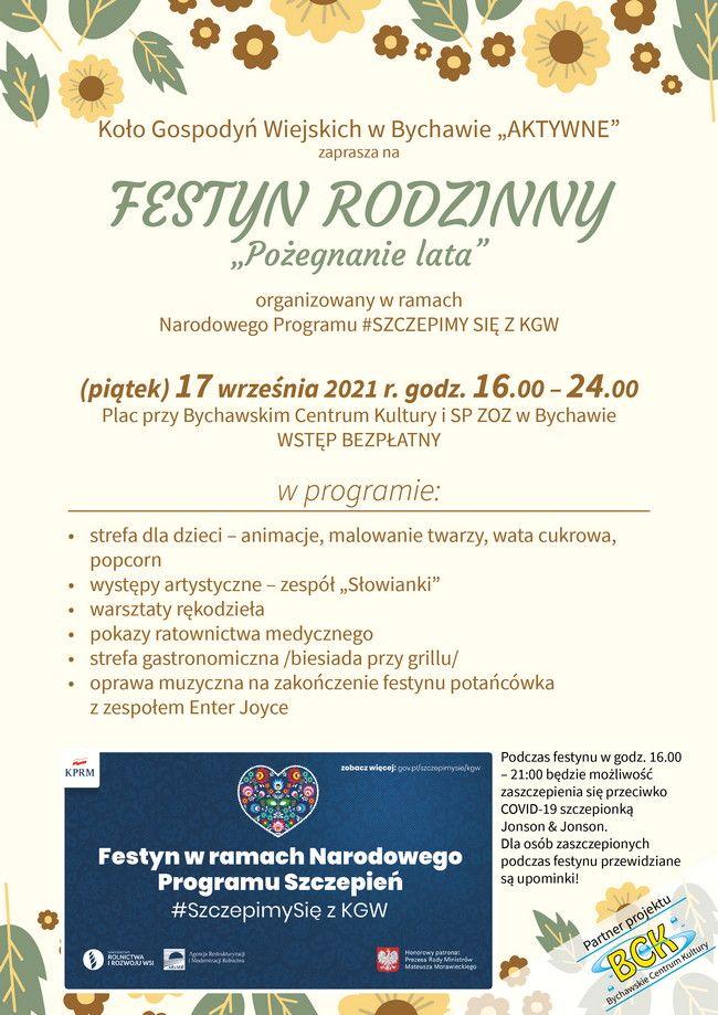 """FESTYN RODZINNY 17 września 2021 roku – zaprasza Koło Gospodyń Wiejskich w Bychawie """"AKTYWNE"""""""